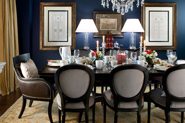 Jane Lockhart Navy Dining Room  Traditional  Dining Room