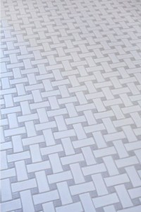 Glazed Ceramic Basketweave Tile- White and Grey ...