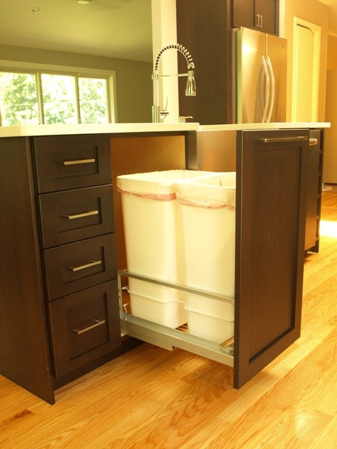 Double garbage pullout with full height door  Transitional  Kitchen  new york  by