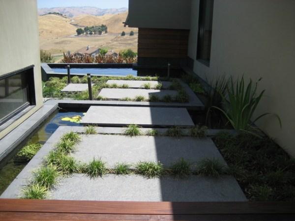 stepping stone koi pond - modern