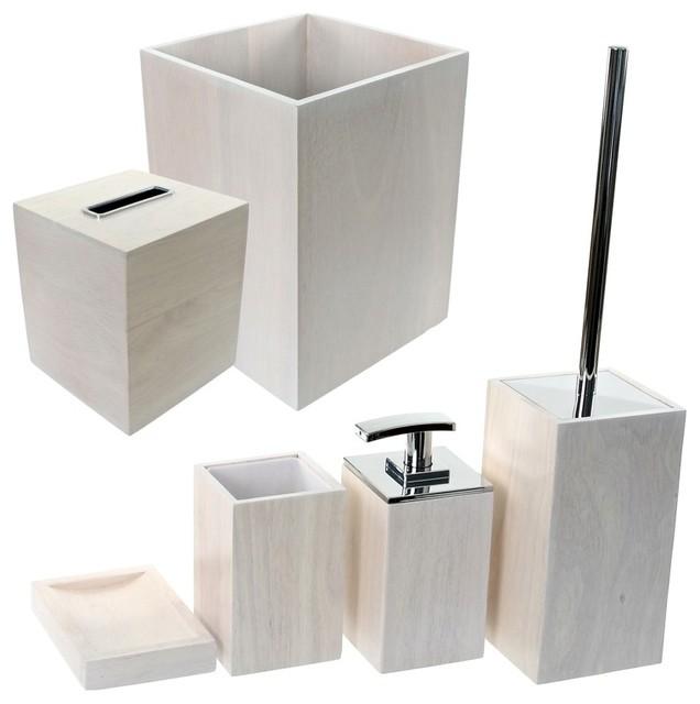 Wooden 6 Piece White Bathroom Accessory Set