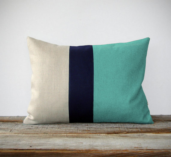 Mint ColorBlock Decorative Pillow by Jillian Rene Decor