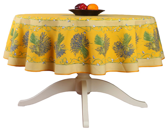 French Provencal Tablecloth  Bouquet Yellow  Round