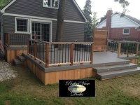 Azek tahoe deck around tree with cedar railing,privacy and ...