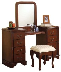 Cherry Louis Philipe 3 PC Make up Table Bench Mirror 8 ...