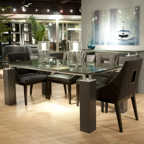 Tiffany Dining Table With Crackle Glass  Modern  Dining