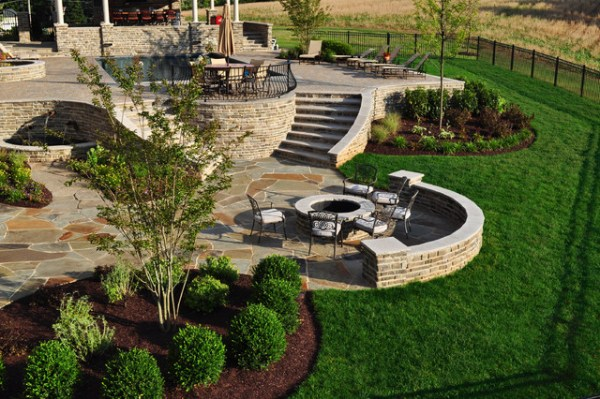stone firepit and flagstone patio
