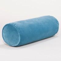 Adriatic Blue Velvet Bolster Pillow - Contemporary ...