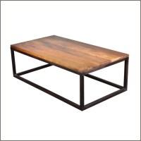 Industrial Iron & Mango Wood 52'' Long Coffee Table ...