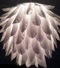 Elegant handmade feather paper light shade - Pendant ...