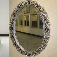 PU Oval Bathroom Mirrors With Carved Flowers