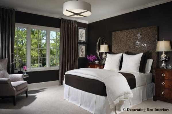 light brown paint bedroom room Chocolate brown and white bedroom - Contemporary - Bedroom