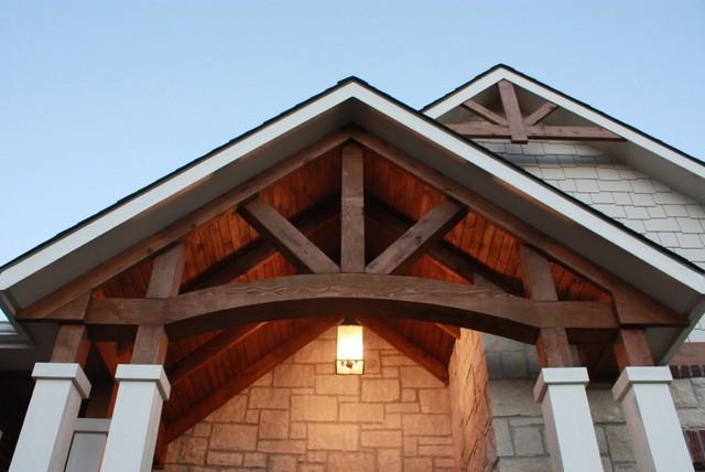 Cedar And Reclaimed Cedar Beams On Exposed Plank Ceiling