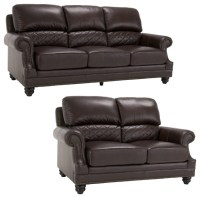 James Brown Italian Leather Sofa and Leather Loveseat ...