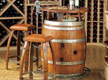 Vintage Oak Wine Barrel Bistro Table & Bar Stools ...