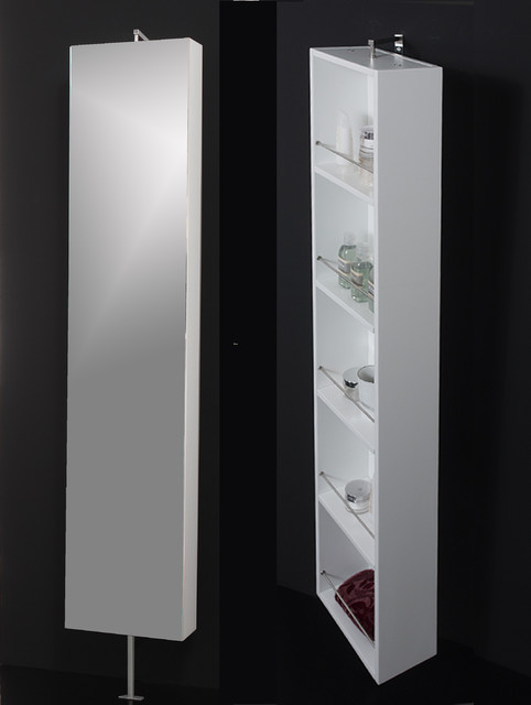 Powder Room Mirror Rotating Cabinet Contemporary