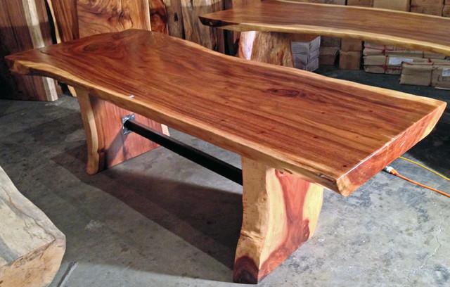 Live / Natural Edge Monkeypod Wood Slab Dining Table