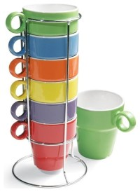 7-Piece Stacking Rainbow Mug and Stand Set - Contemporary ...