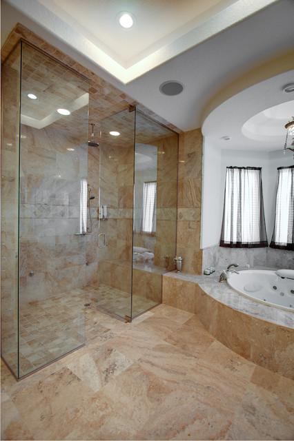 Cream River Travertine Tiles  Contemporary  Bathroom  tampa  by StoneMart