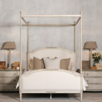 Dauphine Canopy Four-Poster Bed in Weathered White ...