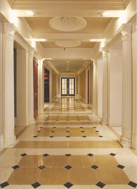 jacksonville outdoor kitchens themed kitchen decor marble floor grand hallway - traditional hall ...