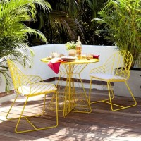 Bend Dining Table + 2 Chairs, Yellow - Modern - Outdoor ...