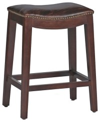 Pair Frasier Rustic Lodge Curved Seat Top Grain Leather ...