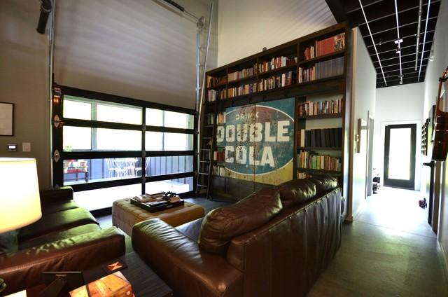 Living Room Connected To Screen Porch Via A Garage Door