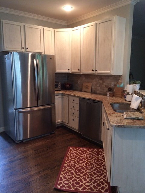 distressed kitchen cabinets nyc soup kitchens update of - white with heavy glaze and ...