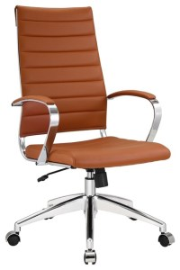 Aria Leather High Back Office Chair, Tan modern-office-chairs