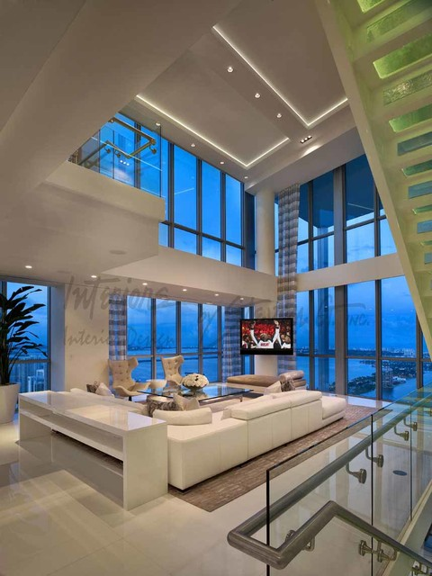 hanging chair interior dark wood dining room chairs 4-story penthouse miami - contemporary living by interiors steven g