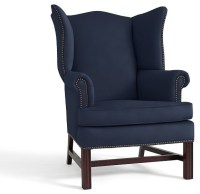 Thatcher Upholstered Wingback Chair, Cadet Navy Twill ...