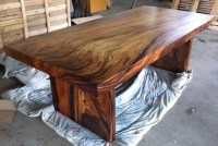 Reclaimed Solid Slab Acacia Wood Dining Table by Flowbkk ...