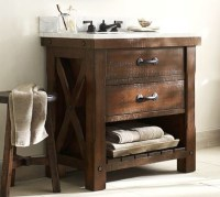 Benchwright Single Sink Console, Rustic Mahogany stain ...