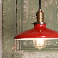 Pendant Light With Red Enamel Shade by Lucent Lampworks ...