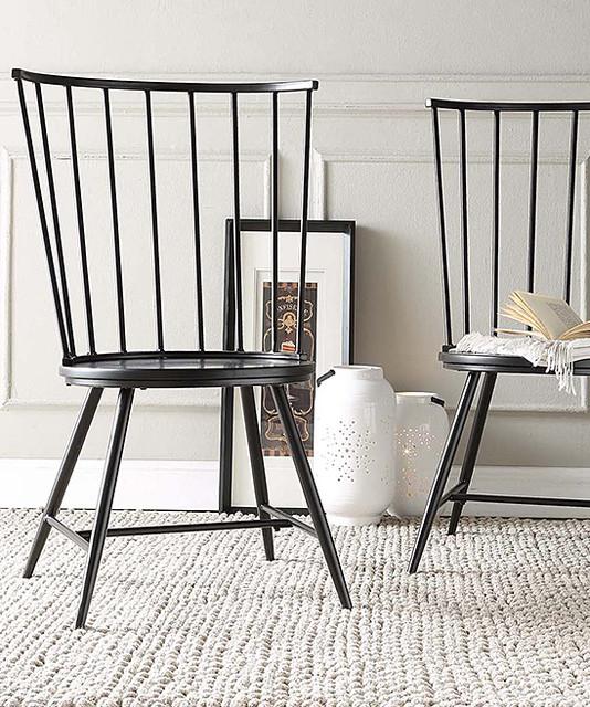 Black Warren HighBack Windsor Chair  Set of Two  Modern