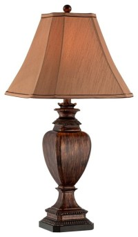 Brown Wood Grain Pedestal Table Lamp