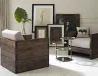 Distressed Reclaimed Oak Accent Chair - Modern - Living ...