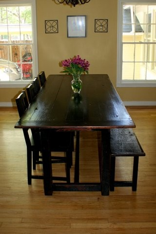 Black Distressed Tavern Style Table With Bench
