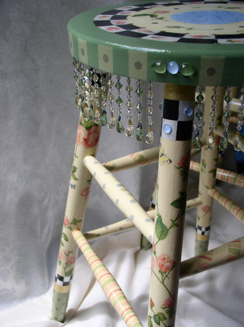 french country farm table and chairs macrame swing chair nz hand painted whimsical stool - furniture new york by sharon mooradian designs
