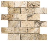 "Picasso Travertine Tumbled 2"" x 4"" Mosaic - Contemporary ..."