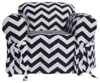 Black/White Chevron Print One-piece Chair Slipcover ...