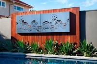 Outdoor living: By the pool with Entanglements laser cut ...