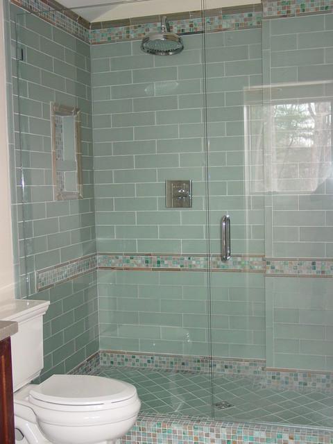 Blue Glass Tile Shower