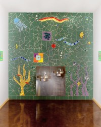 Mosaic wall mural above water fountains - Contemporary ...