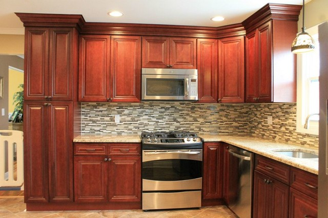 Ideas With Cherry Cabinets Kitchen Backsplash