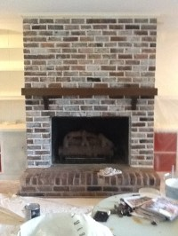 Brick Fireplace whitewash