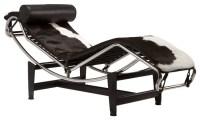 Chaise Lounge Chair in Black & White Hide - Modern ...
