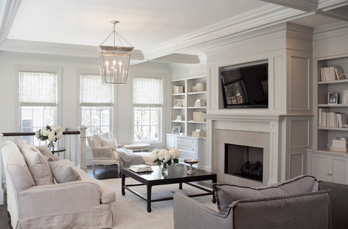 This Cozy Family Room Features A Large Silver Lantern Light Photo Credit Transitional