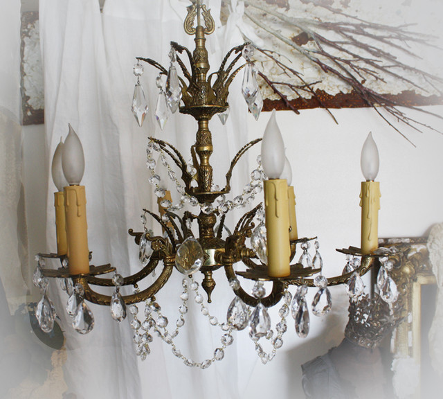 Antique Spanish Crystal Prisms Chandelier Traditional